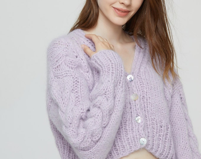 Hand knit woman sweater Mohair cable knit short cropped cardigan button front cardigan Misty Lilac