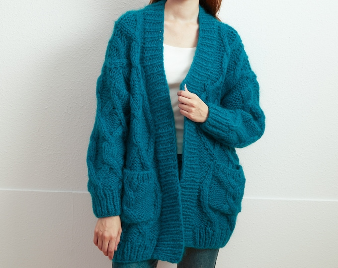 Hand knit oversize woman sweater Mohair  Long Cardigan Peacock