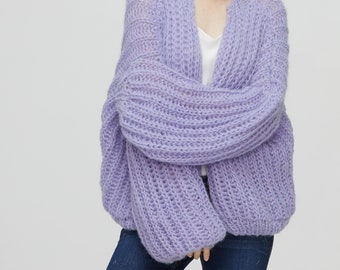 Hand knit woman sweater mohair cardigan Lilac sweater top puffy sleeves