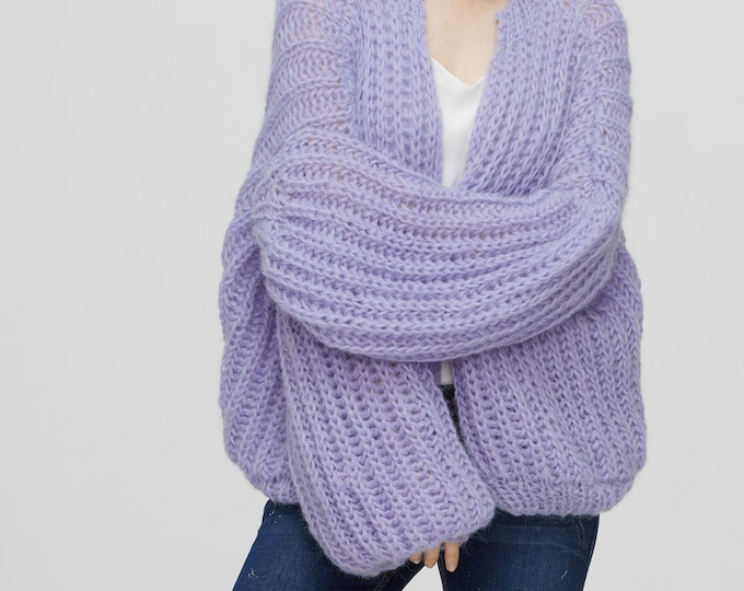 Hand knit woman sweater mohair pullover Lilac sweater top puffy sleeves