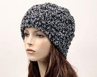 Hand knit  woman man unisex hat  Chunky Wool Hat slouchy hat BLACK/WHITE cable hat