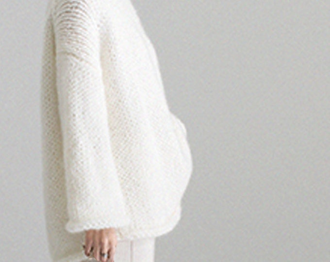 Hand knit woman sweater OVERSIZED mohair sweater top pullover White cream sweater