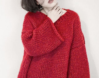 Hand knit woman sweater OVERSIZED mohair sweater top pullover RED sweater