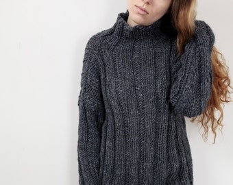 Hand knit oversize sweater wool woman sweater long sweater Charcoal pullover sweater