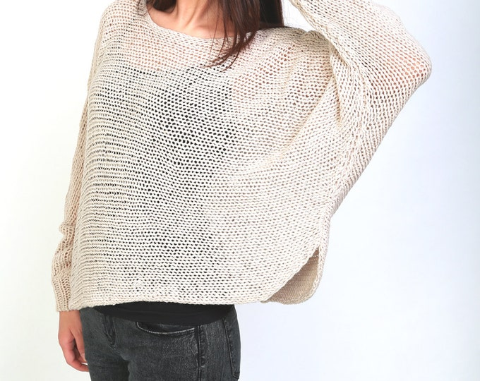 Hand knit sweater pullover top cropped sweater Wheat sweater