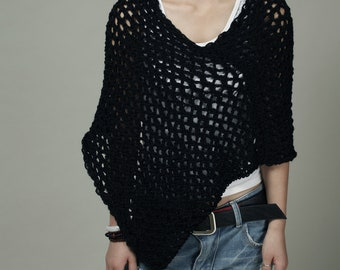 Hand Knit Little cotton poncho Scarf in Black