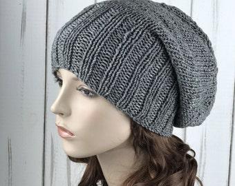 Hand knit hat woman winter hat Grey Wool Hat slouchy hat