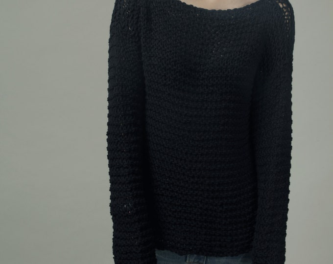 Simple is the best - Hand knit woman sweater Eco cotton oversized black-ready to ship