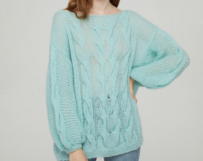 Hand knit pullover woman long sweater boat neck light weight mohair loose knit pullover cable knit sweater AQUA
