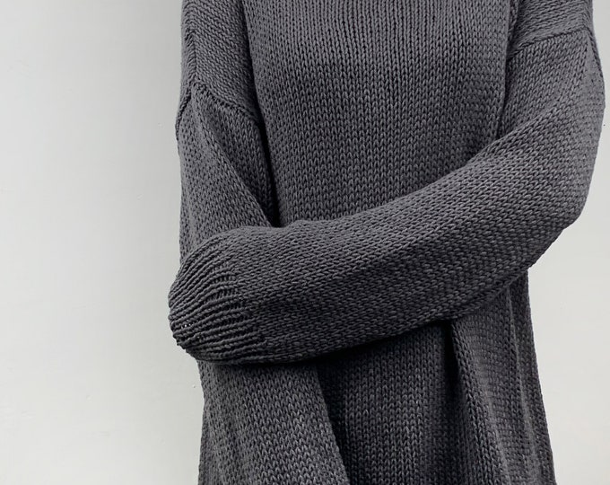 Hand knit oversize woman knit sweater Crewneck slouchy cotton knit pullover sweater