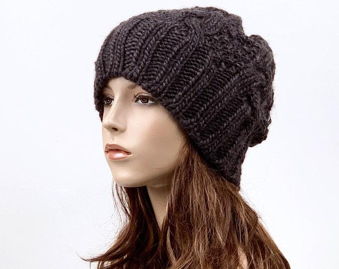 Hand knit hat Wool hat woman man Hat slouchy hat Charcoal hat