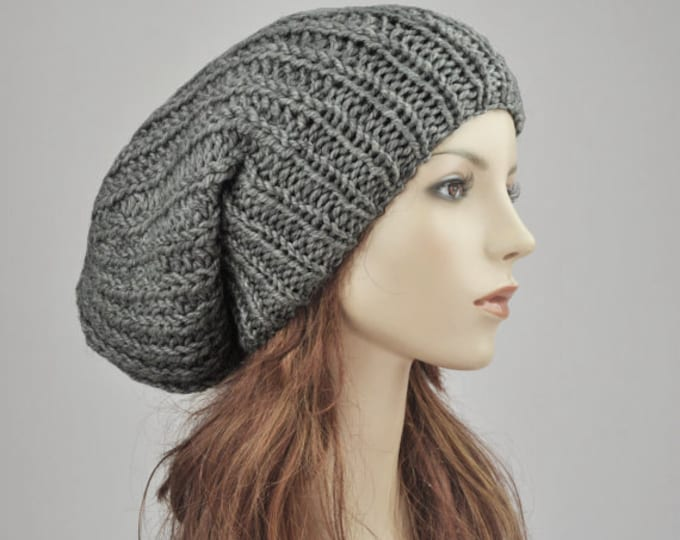 e3b84faca7a Hand knit hat - Oversized Chunky Wool Hat