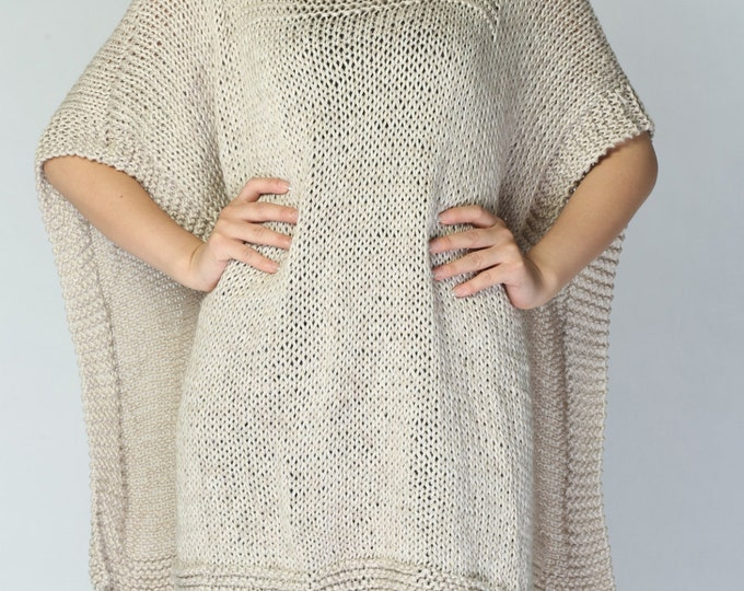 Hand knitted Poncho/ capelet in wheat eco cotton poncho - ready to ship