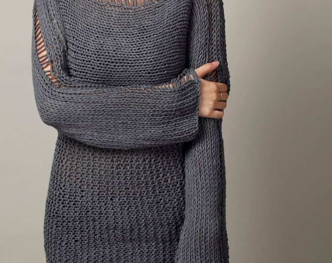 Hand Knit Woman Sweater - Eco Cotton Oversized sweater in Charcoal Grey - ready to ship