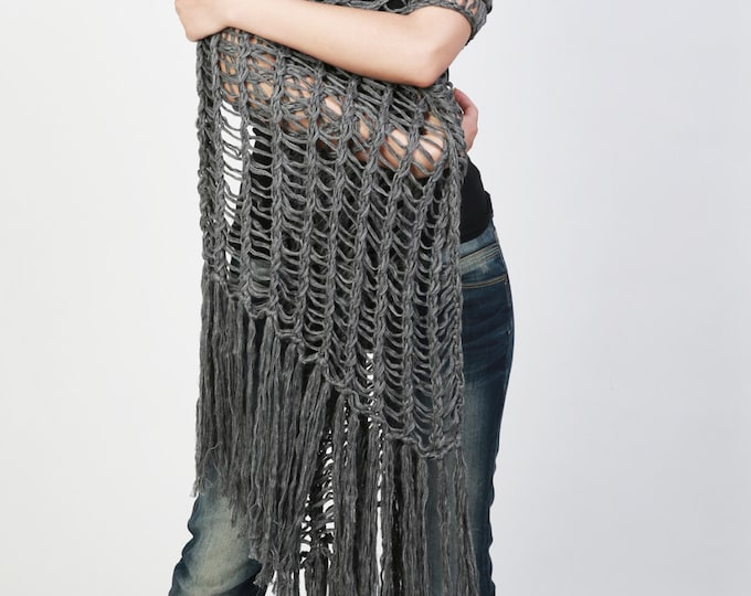 Hand knit scarf/ shawl - extra long eco cotton scarf in charcoal