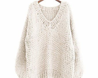 Hand knit WOOL sweater oversize woman sweater V-neck slouchy white cream sweater