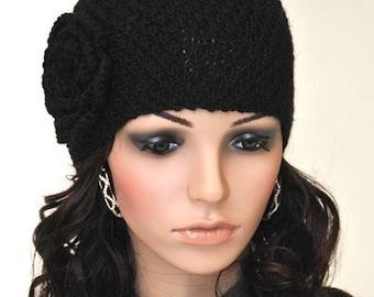 Hand Knit Beanie hat with Crochet Flower Black wool hat