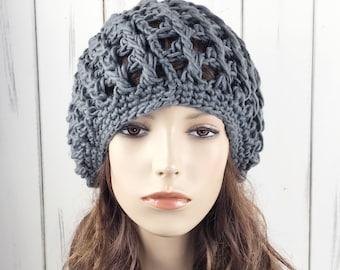 Hand crochet woman wool berets hat winter dark grey hat