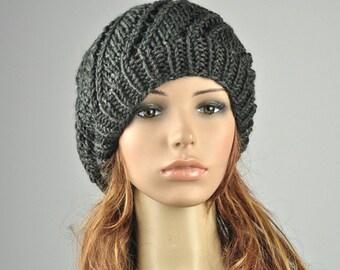 Hand knit hat - oversized beret, Charcoal hat, wool hat, swirl pattern