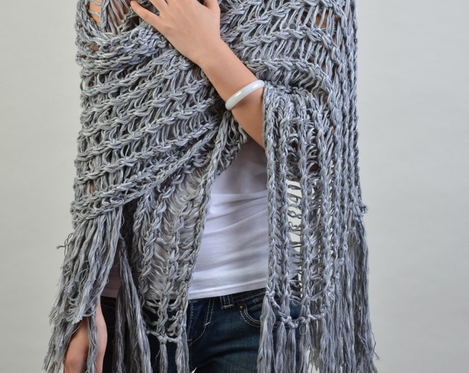 Hand knit scarf/ shawl - extra long eco cotton scarf in grey