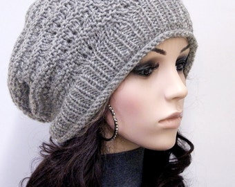 Hand Knit hat unisex hat winter hat grey hat Wool Hat, slouchy hat - ready to ship