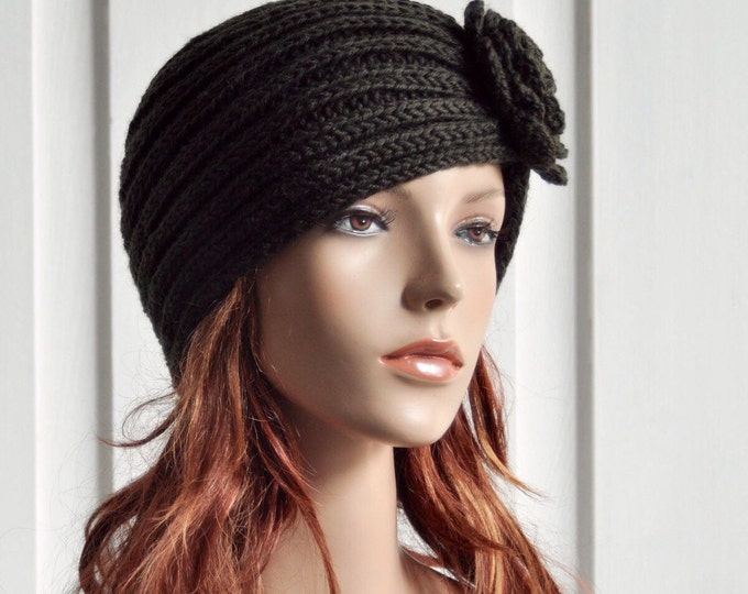 Hand Knit Hat - Wool  Beret Hat with crochet flower in Olive Green