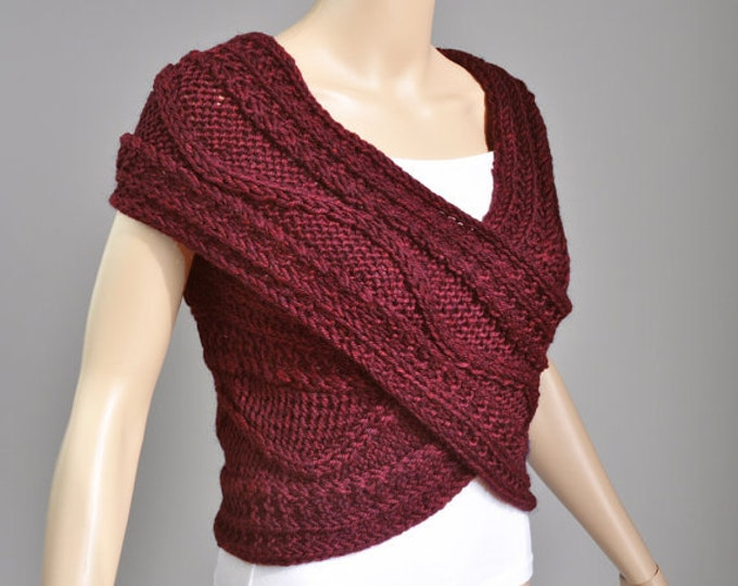 Hand knit woman Cross wool Sweater/Capelet/Neck warmer in Burgundy Super Slim