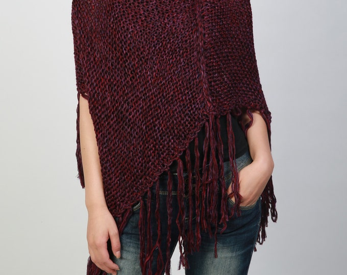 Hand knitted Little cotton poncho knit Fringe scarf knit shrug in cranberry