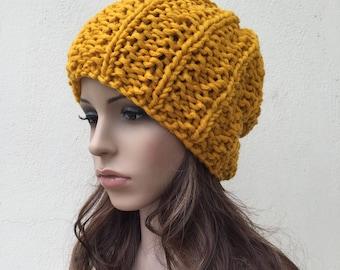 Hand Knit woman berets Chunky hat woman hat Mustard yellow