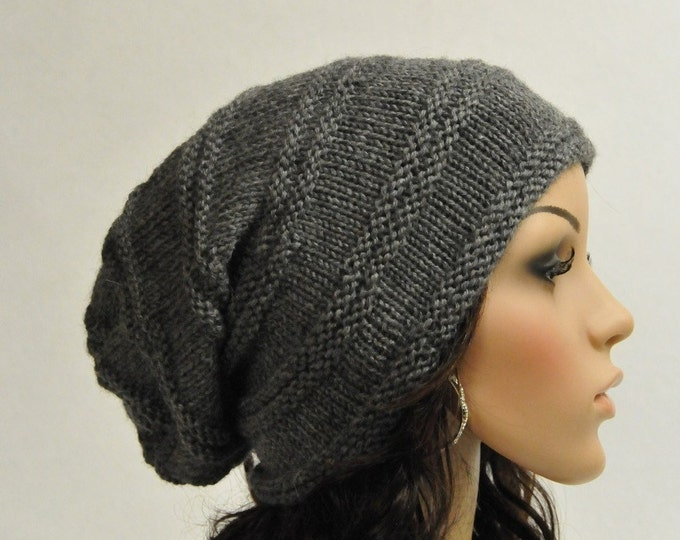 Hand knit hat woman man hat charcoal wool slouchy hat