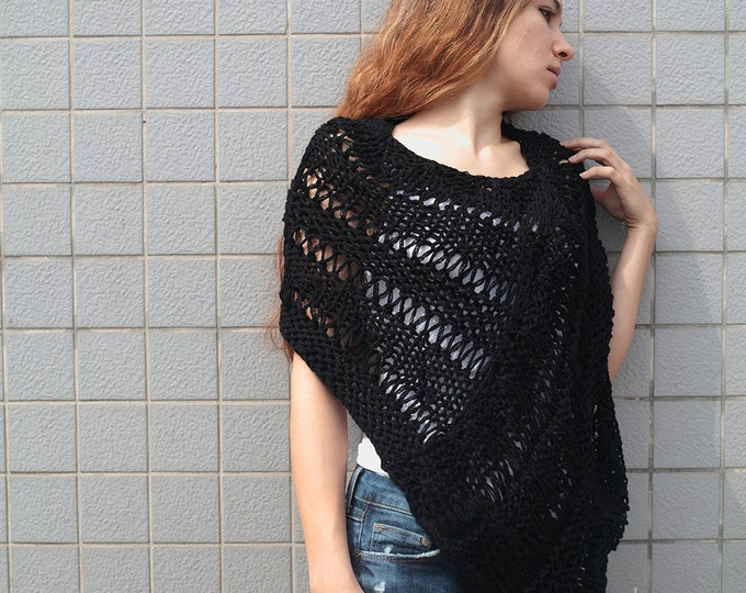 Hand knit little poncho knit scarf knit shrug black woman sweater-ready to ship