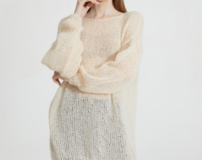 Hand knit woman sweater mohair loose knit long sweater top pullover wheat