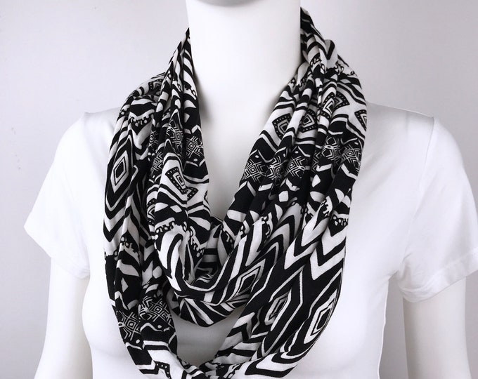 Black white Infinity tube scarf Knit jersey Infinity tube scarf  cowl woman man unisex scarf circle scarf Gift for Women