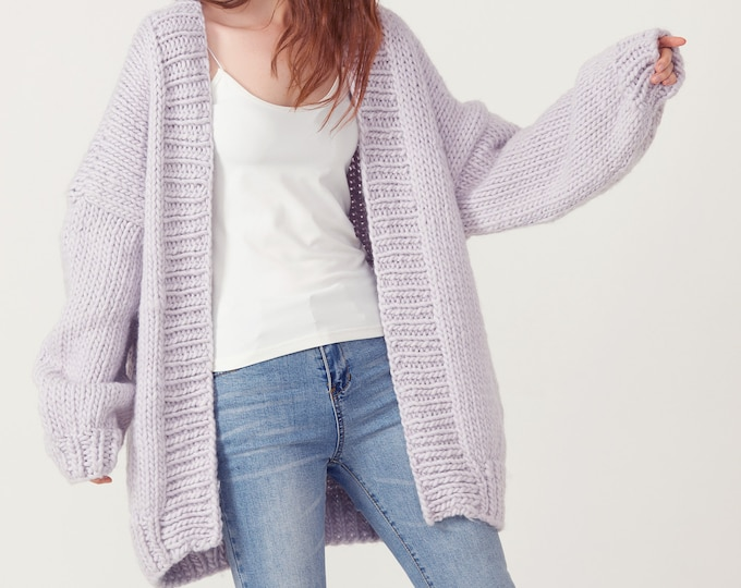 Hand knit oversize woman sweater chunky pure wool slouchy cardigan pale lilac