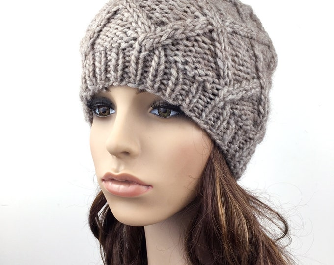 Hand Knit Hat woman hat winter hat wool Beret Hat wheat Beanie hat