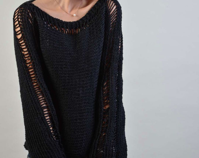 Hand Knit Woman Sweater - Eco Cotton sweater in Black - ready to ship