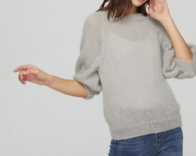 Hand knit woman sweater mohair Light weight short pullover sweater puff sleeve sweater top light grey