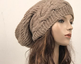 Hand knit hat Oversized Chunky Wool Hat slouchy hat almond cable hat