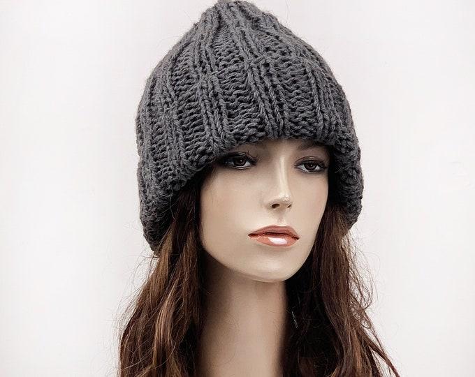 Hand knit wool hat Chunky slouchy men woman unisex hat