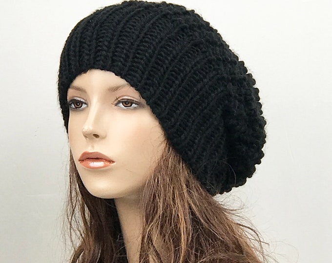 Hand knit woman hat - Oversized Chunky Wool Hat, slouchy hat, Black hat, winter hat