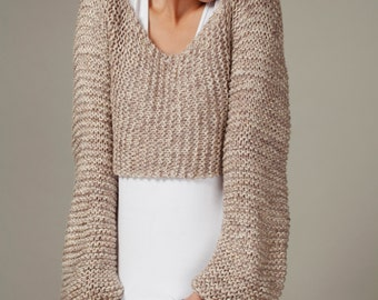 Hand knit sweater woman sweater pullover cropped top sweater wheat cover up top cotton sweater