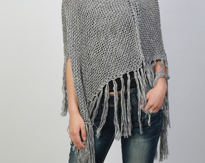 87ed28dee9 Hand knitted Little cotton poncho knit Fringe scarf knit shrug in Grey