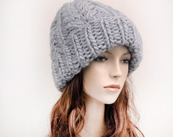 Hand knit woman man unisex hat - Oversized Chunky Wool Hat, slouchy hat grey hat