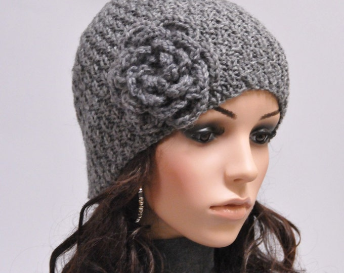 Hand knit hat - charcoal beanie hat with crochet flower-ready to ship