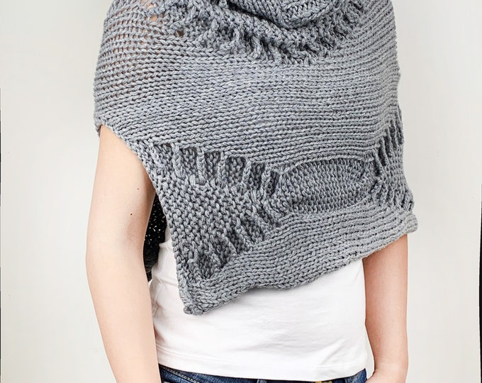 Hand knit little poncho knit scarf knit shrug tube scarf grey woman sweater