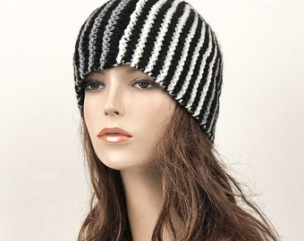 Hand knit wool hat woman Beanie hat contrast black charcoal ivory