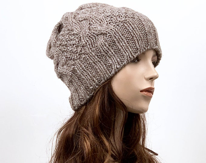 Hand knit hat Wool hat woman Hat Almond slouchy hat