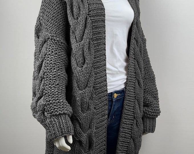 Hand knit oversize WOOL woman sweater chunky slouchy long cable knit Charcoal cardigan