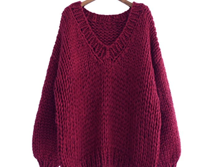 Hand knit sweater cotton oversize woman sweater V-neck slouchy Wine burgundy sweater