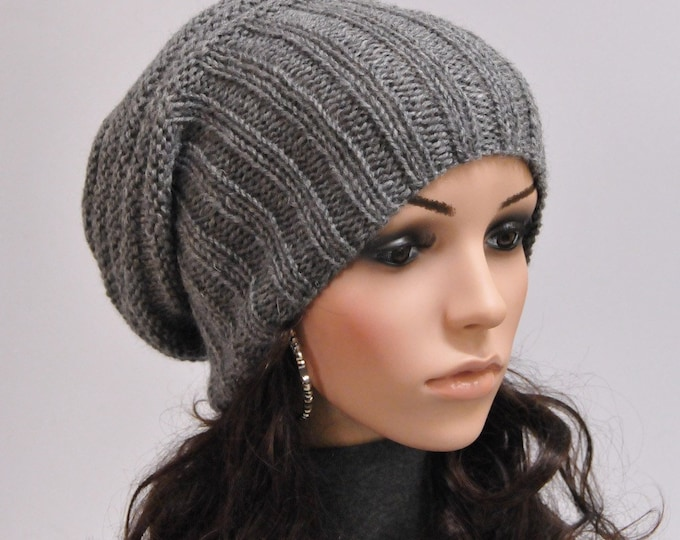 Hand knit hat dark grey charcoal Chunky Wool Hat slouchy hat - ready to ship